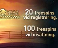 Få 20 freespins direkt + 100 vid insättning