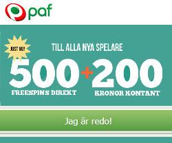 Få 500 freespins direkt vid registrering